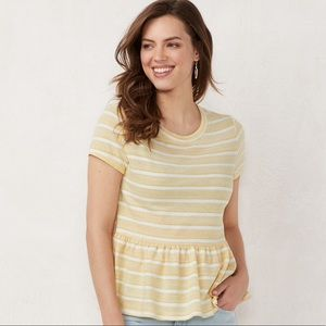 Lauren Conrad Yellow Stripe Peplum Top